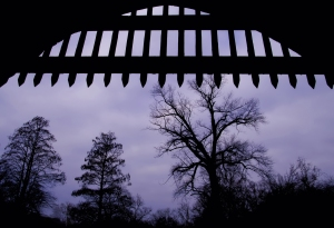 Silhouette of medieval open gate, with trees at the background.